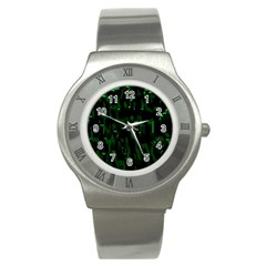 Abstract Art Background Green Stainless Steel Watch