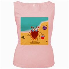 Animal Nature Cartoon Bug Insect Women s Pink Tank Top