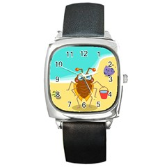 Animal Nature Cartoon Bug Insect Square Metal Watch
