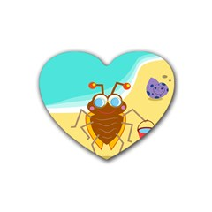 Animal Nature Cartoon Bug Insect Rubber Coaster (Heart)