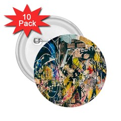 Art Graffiti Abstract Lines 2.25  Buttons (10 pack)