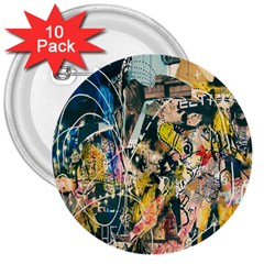 Art Graffiti Abstract Lines 3  Buttons (10 pack)