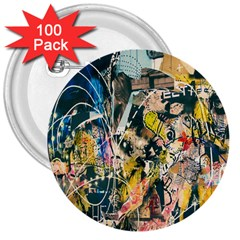 Art Graffiti Abstract Lines 3  Buttons (100 pack)