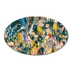 Art Graffiti Abstract Lines Oval Magnet