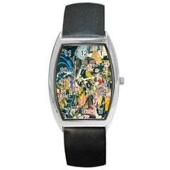Art Graffiti Abstract Lines Barrel Style Metal Watch