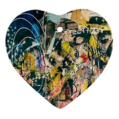 Art Graffiti Abstract Lines Heart Ornament (Two Sides)