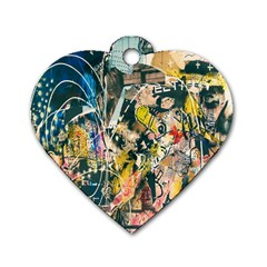 Art Graffiti Abstract Lines Dog Tag Heart (One Side)