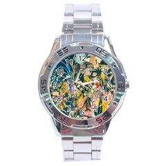 Art Graffiti Abstract Lines Stainless Steel Analogue Watch