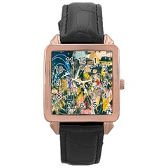 Art Graffiti Abstract Lines Rose Gold Leather Watch