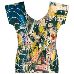 Art Graffiti Abstract Lines Women s V-Neck Cap Sleeve Top