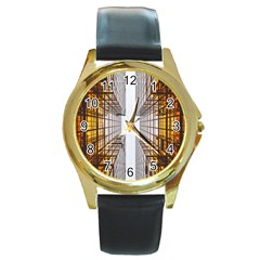 Architecture Facade Buildings Windows Round Gold Metal Watch