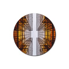 Architecture Facade Buildings Windows Rubber Round Coaster (4 pack)