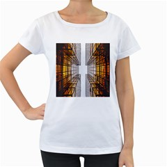 Architecture Facade Buildings Windows Women s Loose-Fit T-Shirt (White)