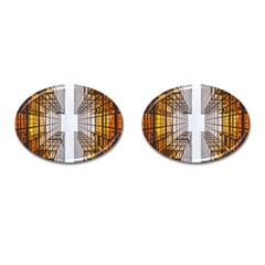 Architecture Facade Buildings Windows Cufflinks (Oval)