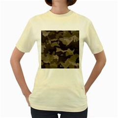 Background For Scrapbooking Or Other Camouflage Patterns Beige And Brown Women s Yellow T-Shirt