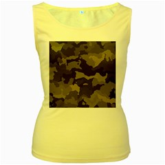 Background For Scrapbooking Or Other Camouflage Patterns Beige And Brown Women s Yellow Tank Top