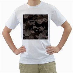 Background For Scrapbooking Or Other Camouflage Patterns Beige And Brown Men s T-Shirt (White) (Two Sided)