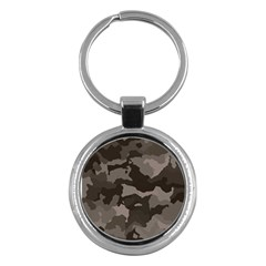 Background For Scrapbooking Or Other Camouflage Patterns Beige And Brown Key Chains (Round)