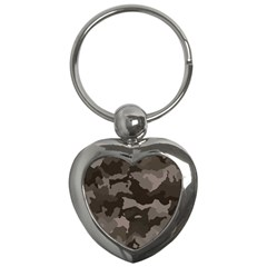 Background For Scrapbooking Or Other Camouflage Patterns Beige And Brown Key Chains (Heart)