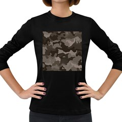 Background For Scrapbooking Or Other Camouflage Patterns Beige And Brown Women s Long Sleeve Dark T-Shirts