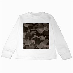 Background For Scrapbooking Or Other Camouflage Patterns Beige And Brown Kids Long Sleeve T-Shirts
