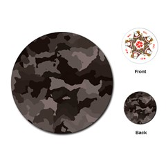 Background For Scrapbooking Or Other Camouflage Patterns Beige And Brown Playing Cards (Round)