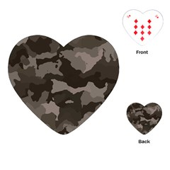 Background For Scrapbooking Or Other Camouflage Patterns Beige And Brown Playing Cards (Heart)