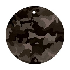 Background For Scrapbooking Or Other Camouflage Patterns Beige And Brown Round Ornament (Two Sides)