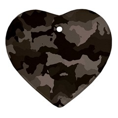 Background For Scrapbooking Or Other Camouflage Patterns Beige And Brown Heart Ornament (Two Sides)