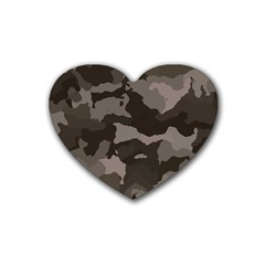 Background For Scrapbooking Or Other Camouflage Patterns Beige And Brown Rubber Coaster (Heart)