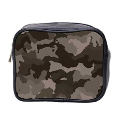 Background For Scrapbooking Or Other Camouflage Patterns Beige And Brown Mini Toiletries Bag 2-Side
