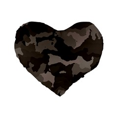 Background For Scrapbooking Or Other Camouflage Patterns Beige And Brown Standard 16  Premium Heart Shape Cushions