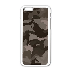Background For Scrapbooking Or Other Camouflage Patterns Beige And Brown Apple Iphone 6/6s White Enamel Case
