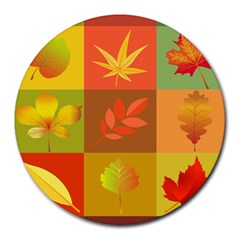 Autumn Leaves Colorful Fall Foliage Round Mousepads