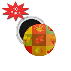 Autumn Leaves Colorful Fall Foliage 1.75  Magnets (10 pack)