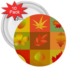Autumn Leaves Colorful Fall Foliage 3  Buttons (10 pack)