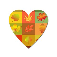 Autumn Leaves Colorful Fall Foliage Heart Magnet