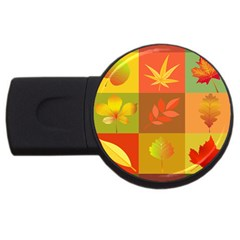 Autumn Leaves Colorful Fall Foliage USB Flash Drive Round (1 GB)