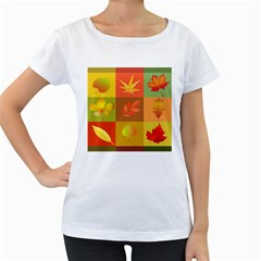 Autumn Leaves Colorful Fall Foliage Women s Loose-Fit T-Shirt (White)