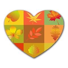 Autumn Leaves Colorful Fall Foliage Heart Mousepads