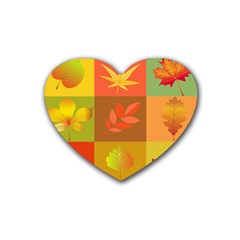 Autumn Leaves Colorful Fall Foliage Rubber Coaster (Heart)