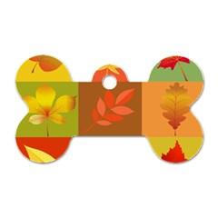 Autumn Leaves Colorful Fall Foliage Dog Tag Bone (One Side)