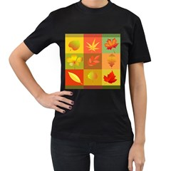 Autumn Leaves Colorful Fall Foliage Women s T-Shirt (Black)
