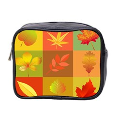 Autumn Leaves Colorful Fall Foliage Mini Toiletries Bag 2-Side