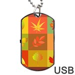 Autumn Leaves Colorful Fall Foliage Dog Tag USB Flash (Two Sides) Front