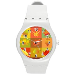 Autumn Leaves Colorful Fall Foliage Round Plastic Sport Watch (m)