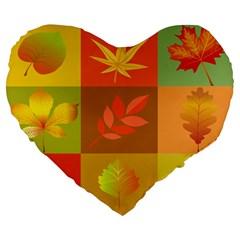 Autumn Leaves Colorful Fall Foliage Large 19  Premium Flano Heart Shape Cushions