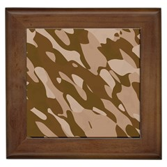 Background For Scrapbooking Or Other Beige And Brown Camouflage Patterns Framed Tiles