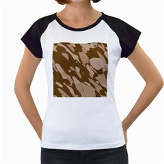 Background For Scrapbooking Or Other Beige And Brown Camouflage Patterns Women s Cap Sleeve T