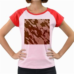 Background For Scrapbooking Or Other Beige And Brown Camouflage Patterns Women s Cap Sleeve T-Shirt